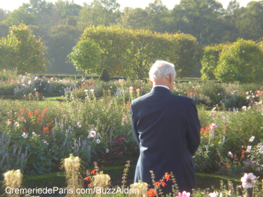 Buzz Aldrin in the gardens of Versailles