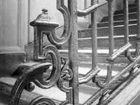 Symbol 5 on the staircase photo by Eugene Atget