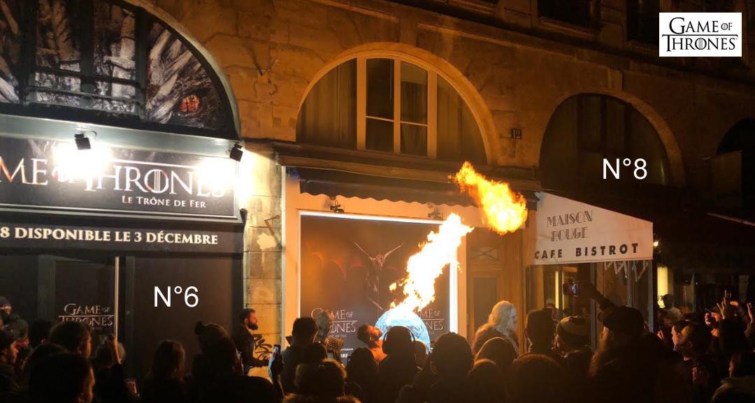 Le feu de dragons brûle l'air et réchauffe la scène atypique qui se déroule au Pop Up de Game of Thrones à la Cremerie N°6