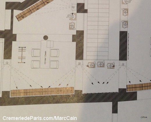plan du showroom Marc Cain