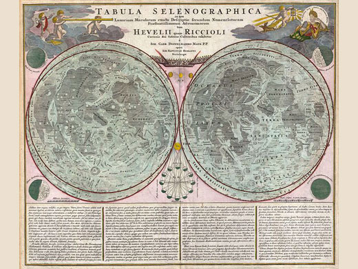 map of the moon by Homann and Dopplmayr made in 1707