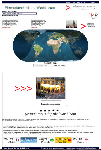 Phonebook of the World.com homepage