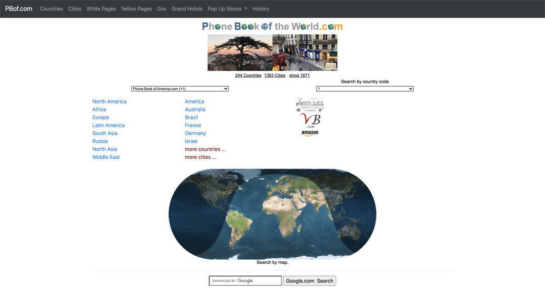 Phone Book of the World.com, page centrale