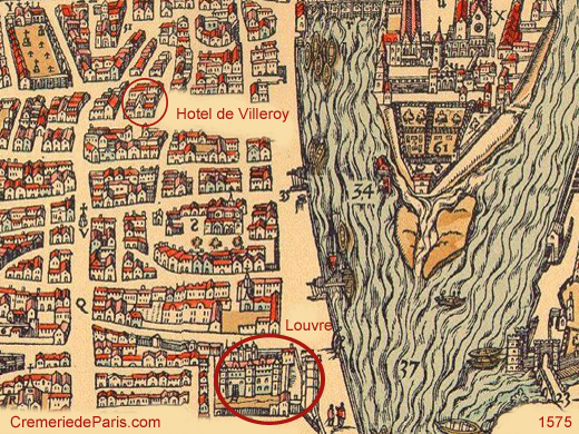 Hotel de Villeroy and the Louvre around 1575 on the Belleforest map