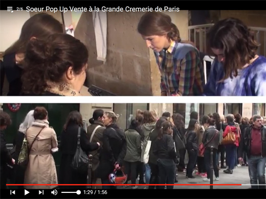 file d'attente, Cremerie de Paris dans la Video Soeur