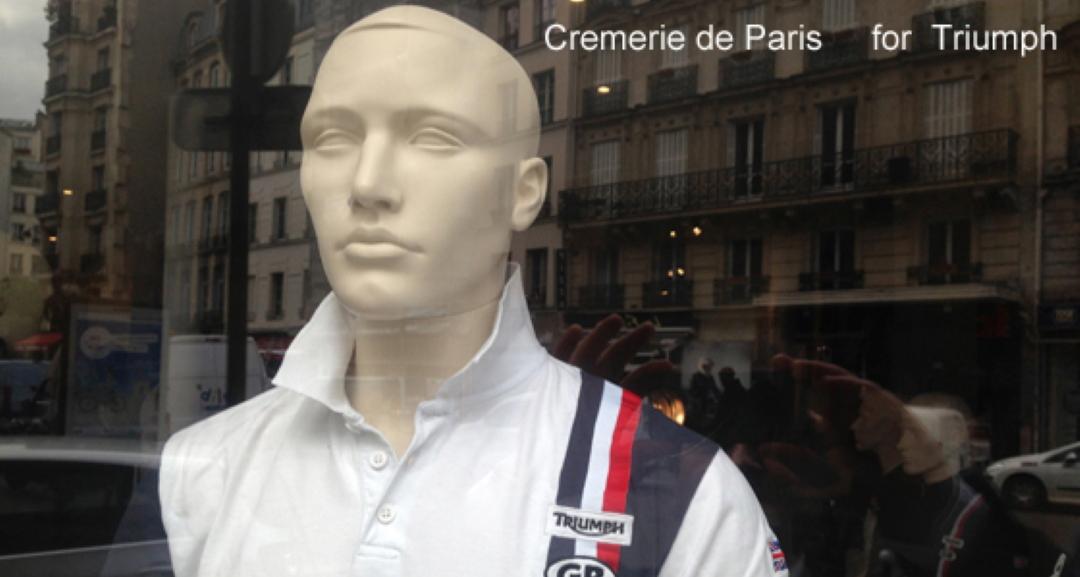 Mannequin Triumph et vue par réflets sur la rue des Halles